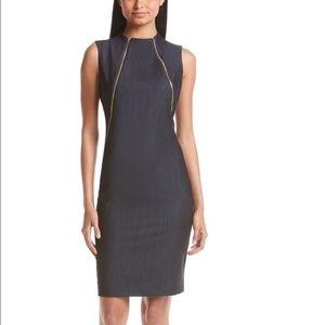 NWT Calvin Klein Double Zipper Denim Sheath Dress